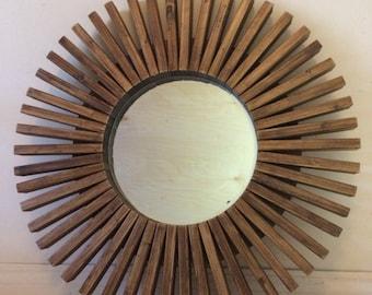 "Sunburst Wall Mirror Wood Frame Honey 26"""