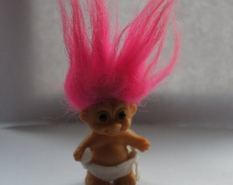 Vintage 1980s 2 Inch Russ Berrie Pink Hair Baby Troll Doll With Nappy, Collectible, Gift, Sister, Friend, Daughter, Girlfriend, New Baby