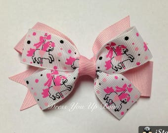 """3.5"""" carousel merry go round pink hot pink black polka dot ribbon hair bow clip birthday party favor baby toddler teen unicorn bow"""