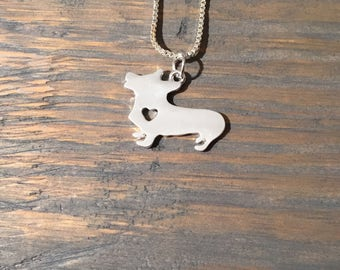 Silver Dachsund Dog Necklace with Cutout Heart, Jewlery