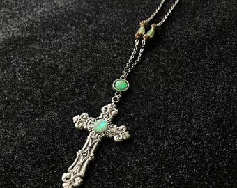 Religious pendant - cross - jesus and cabochon Mint green iridescent