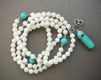 108 Bead Mala Necklace White Necklace Long Beaded Yoga Necklace Turquoise Pendant meditation yoga necklace 108 mala prayer beads Om bracelet