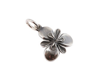 Silver Iris Charm. Jeremy Hoye Jewellery. 925 Silver Handmade Charm. Iris Pendant Necklace Bracelet Jewellery