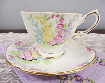 Rare Royal Albert Hand Painted Hollyhock English Bone China Teacup and Saucer