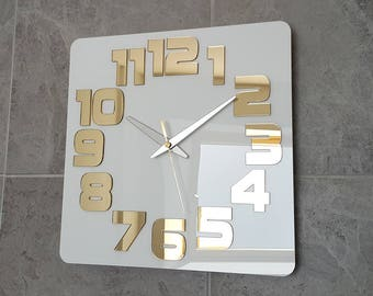 LARGE Wall Clock  modern wall clock White Gold Mirror clock gift office wall decoration clocks