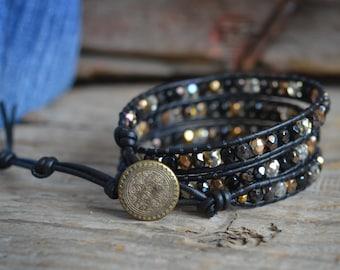 Beaded Wrap Bracelet, Boho Wrap Bracelet, Leather Beaded Wrap, Wrap Bracelet, Leather Wrap Bracelet, Bracelet Wrap, Leather Bead Bracelet