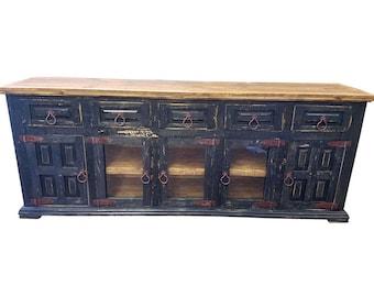 80 Inch Hi End Rustic TV Stand 5 Doors 5 Drawers Western Solid Wood Black  Distressed