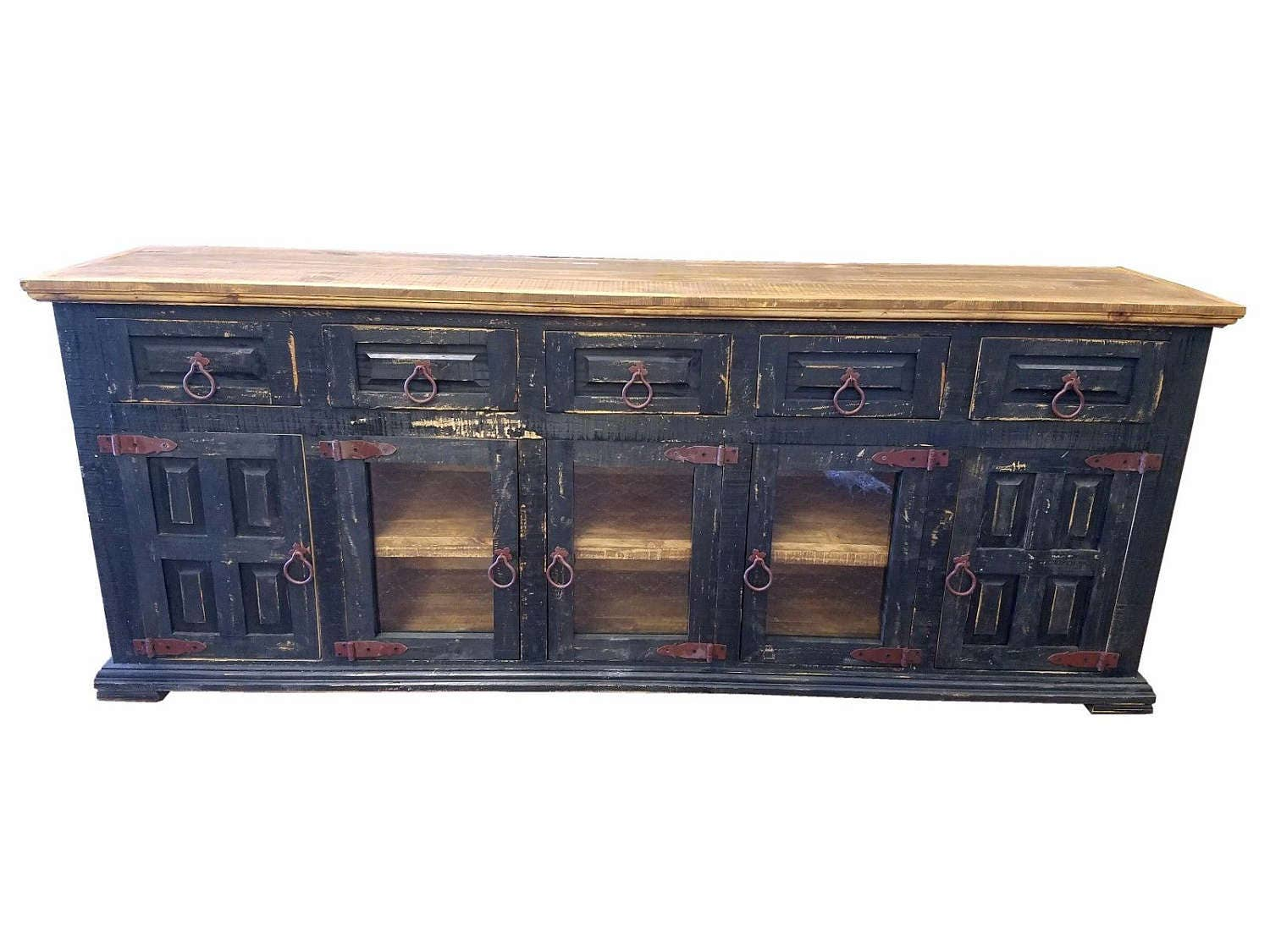 80 Inch Hi End Rustic Tv Stand 5 Doors 5 Drawers Western Solid