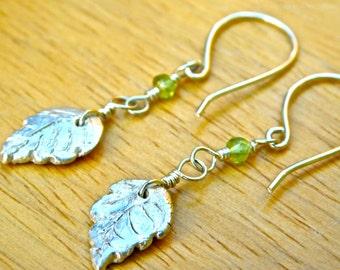 Silver Leaf PMC & Peridot Charm + Earrings - Fine Silver on Sterling Chain- Handmade Silver Earrings