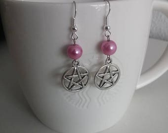 Pentagram earrings with pearly pink beads
