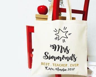 Personalised gift bag for teacher. Teacher appreciation thank you tote bag. Custom teacher assistant cotton shopper bag.