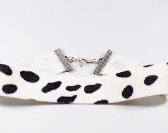 DALMATIAN CHOKER, Choker Necklace, Dalmatian Pattern Choker, Black and White Choker Necklace