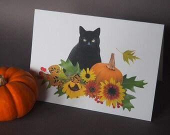 Fall Cat Printable Card, Black Cat Printable Card