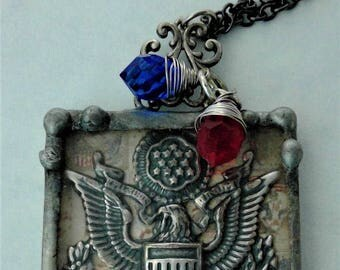 United States Seal stamped lead-free solder w/wire wrapped ed,blue crystal drops
