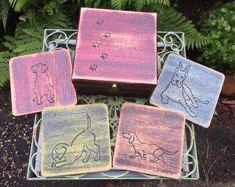 Dog Coater Set with Box - Hand Carved and Painted Wood Box and Four Coasters - Wood Carved Dog Coasters - Colorful