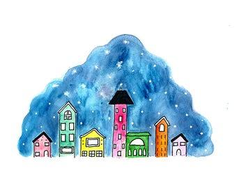 City at Night | Watercolour and Ink | Art Print | Painting | Mixed Media