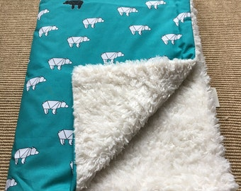 Origami Bear baby blanket by Calico Clouds