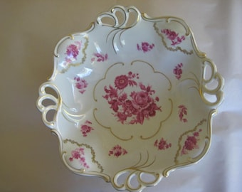 Beautiful Vintage 1950s  Gold Trimmed Porcelain Footed Fruit Bowl made in Germany