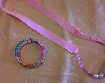 Wire coil beaded necklaces