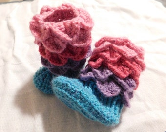 Berry Crocodile Stitch Baby Booties