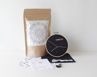 cancer cross stitch kit with supplies & easy to follow instructions modern cross stitch astronomy zodiac pack handmade gift constellation