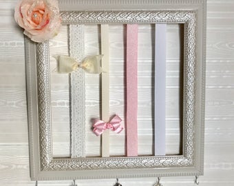 Hair Bow Holder, Baby Girl Nursery, Wall Art, Girl, Vintage, Shabby Chic, Beige, Pink.
