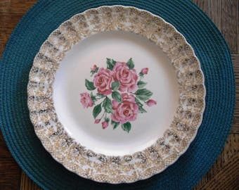 Vintage Mid-Century Sebring Pottery Co. China Bouquet Dinner Plate with pink roses and 22K gold trim