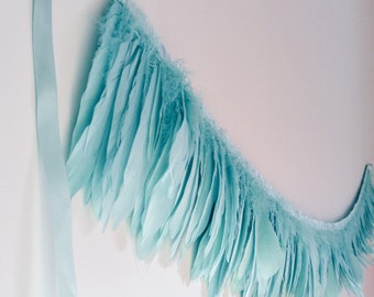 Feather Garland | Wedding decoration | Baby Shower | Birthday Decoration | Pastels party | girls room decoration | easter party | mint