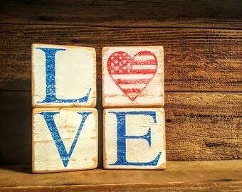 Patriotic Love Blocks, Red White and Blue sign, 4th of July blocks/Sign, Love Blocks, Memorial Day Decor, Independence Day, Labor Day Decor
