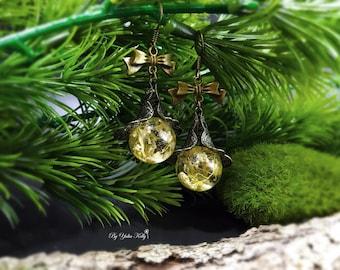 Gypsophila Earrings, Flower Earrings, Resin Earrings, Nature Jewelry, Real Flower Earrings, Crystal Earrings, Babys Breath Earrings