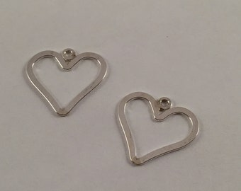 Charms, Hearts, Open Hearts, Sterling Silver Hearts, 15x15mm Hearts, Silver Hearts