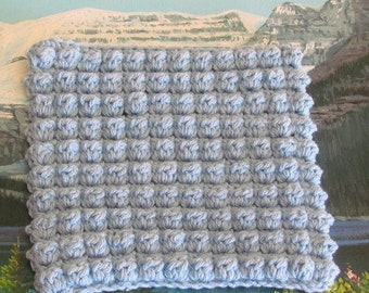 Hand crochet bobble stitch cotton dish cloth 7 by 7.5 CBSDC 015