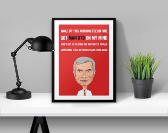 Jose Mourinho Chant Man Utd Illustrated Poster Print | A6 A5 A4 A3