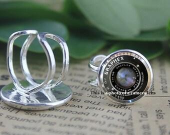Camera Lens Ring - Black camera ring  -Ring gift for Photographer - Adjustable ring size 6- size 8  Mens ring - ladies ring - thumb ring