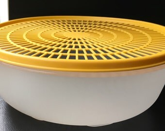 Vintage Tupperware  Colander Steamer Flow Thru Seal Lid Sheer Yellow  Mold # 1835 1836 Replacement Part
