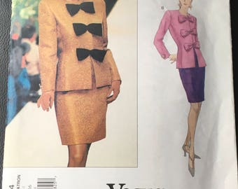 Vogue Givenchy 1694 Designer Sewing Pattern Misses Women Top And Skirt Close Fitting Lined Top Shoulder Pads Size 6 8 10 Or  12 14 16 Uncut