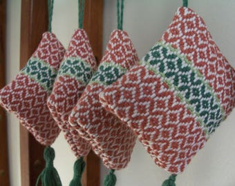 Handwoven Ornament Copper Spring Green Kelly Green