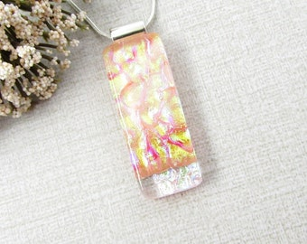 Orange Glass Pendant - Fused Dichroic Glass Necklace with Silver Plated Snake Chain