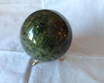 Serpentine Ball. Serpentine Sphere. Bright Green Serpentine Ball
