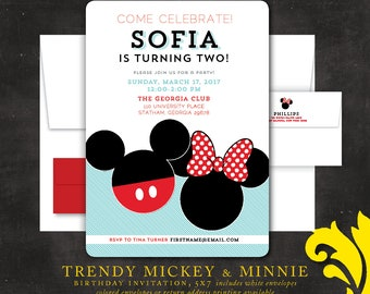 TRENDY MICKEY & MINNIE . birthday invitation