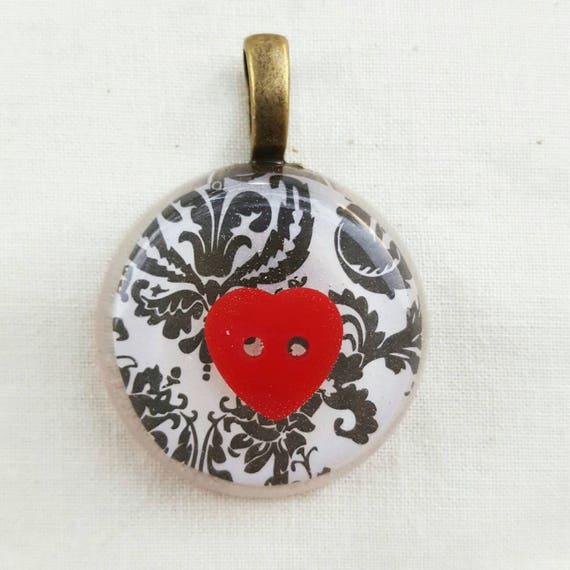 Resin heart pendant. Red heart pendant. Heart pendant.