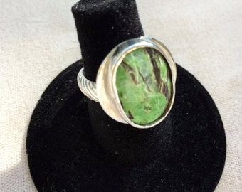 Sterling Ring Size 6.5 -7  Green ,Black and White Agate