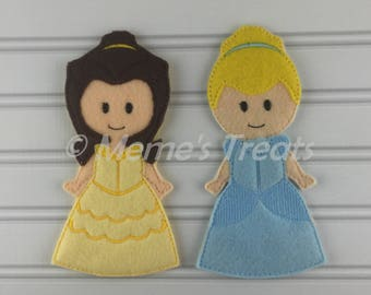 Felt unpaper doll, felt doll, pretend play, quiet play, travel toy, felt non paper doll -- Inspired by Beauty and the Beast and Cinderella