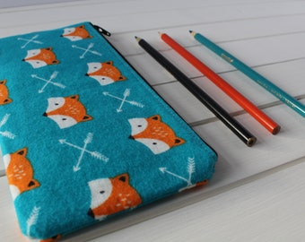 Fox Pencil Pouch, Blue Pencil Case, Brush Bag, Bridesmaid Gift, Holiday Gift, Blue, Orange, Fox, Zipper Pouch, Pencil Case,