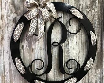Wooden Initial, Wooden Monogram, Wreath, Wooden Door Hanger