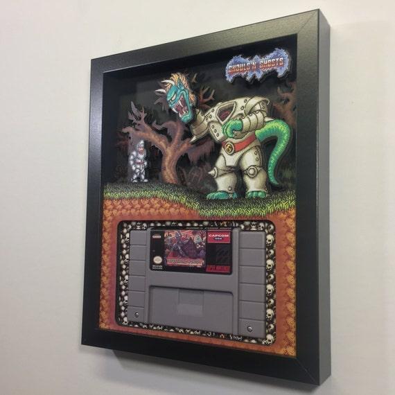 Ghouls 'n Ghosts 3D Shadow Box Cartridge Holder SNES Nintendo
