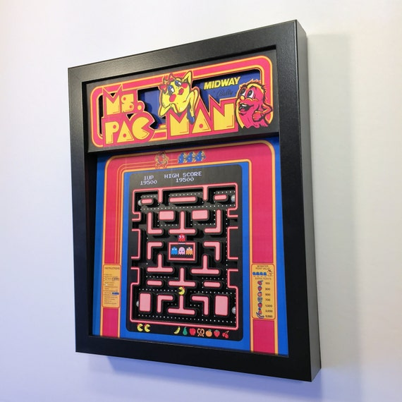 "Ms. Pac-Man 3D Shadow Box 8""x10"""