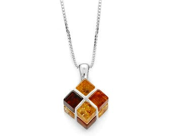 Necklace in amber multicolor on silver 925/1000