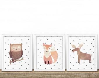 Dotty Woodland Animal Prints (Set of 3) - Nursery Print - Children's Wall Art - Baby Nursery Decor