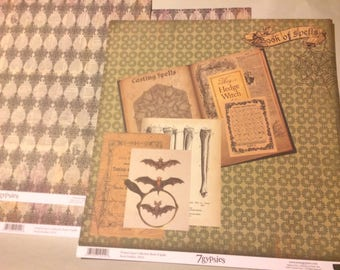 2-sheets double sided Wicked Gypsy Collection Book of Spells, 2013, 7gypsies Scrapbook paper